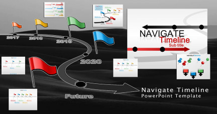 A collage of presentation slides from Navigate Timeline PowerPoint Template