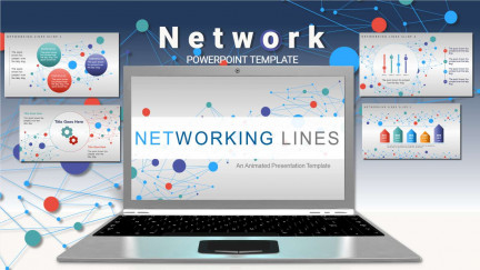 A collage of presentation slides from Network PowerPoint template Concept PowerPoint Template