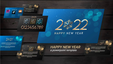 A collage of presentation slides from New Years Blues PowerPoint Template