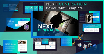A collage of presentation slides from Next Generation PowerPoint Template