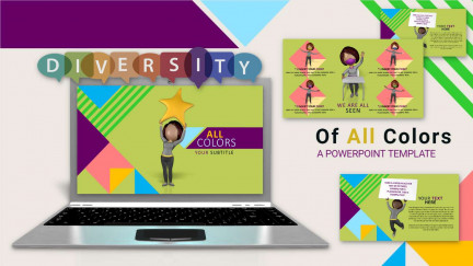 A collage of presentation slides from Of All Colors PowerPoint Template
