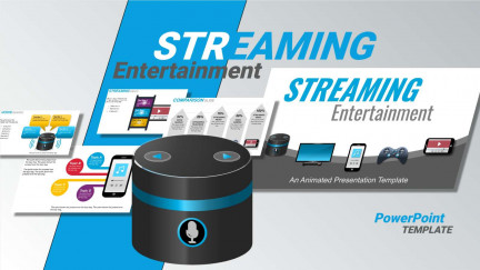 A collage of presentation slides from Online Streaming Entertainment  PowerPoint Template