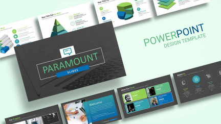 A collage of presentation slides from Paramount Action PowerPoint Template