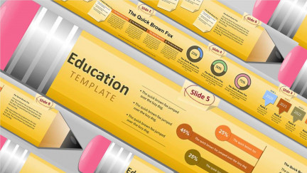 A collage of presentation slides from Pencil Educator PowerPoint Template