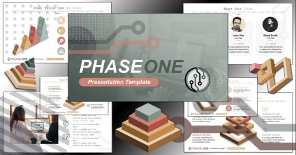 A collage of presentation slides from Phase One PowerPoint Template
