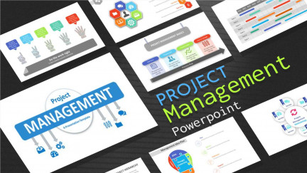 A collage of presentation slides from PowerPoint Template for Project Management
