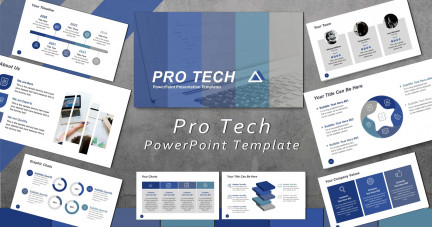 A collage of presentation slides from Pro Tech Template PowerPoint Template