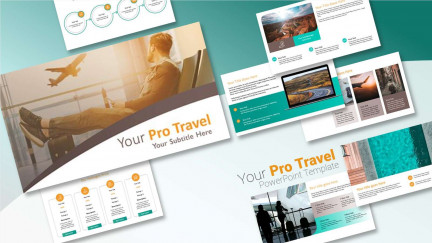 A collage of presentation slides from Pro Travel PPT Template PowerPoint Template