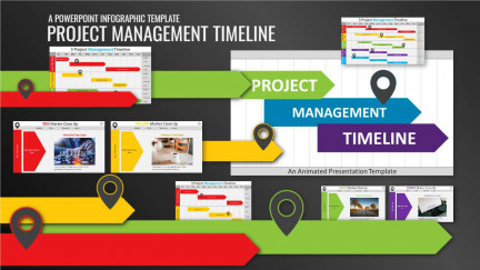 A collage of presentation slides from Project Management Timeline Gantt PowerPoint Template