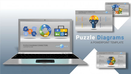 A collage of presentation slides from Puzzle Diagrams PowerPoint Template