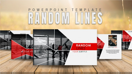 A collage of presentation slides from Random Lines PowerPoint Template