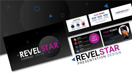A collage of presentation slides from Revel Star Contrast PowerPoint Template