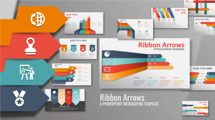 A collage of presentation slides from Ribbon Arrows Infographic Slides PowerPoint Template