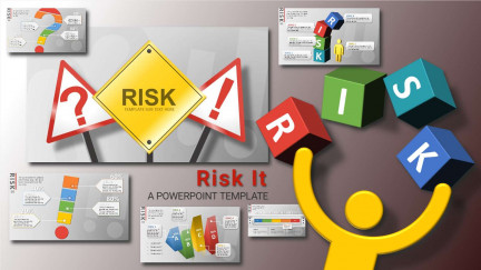 A collage of presentation slides from Risk It PowerPoint Template