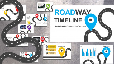 A collage of presentation slides from Road Timeline for PowerPoint PowerPoint Template