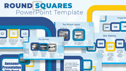 A collage of presentation slides from Round Square PowerPoint Template