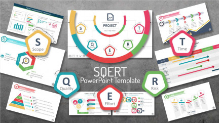 A preview layout displaying many of the slides from PresenterMedia's SQUERT project management template for PowerPoint.