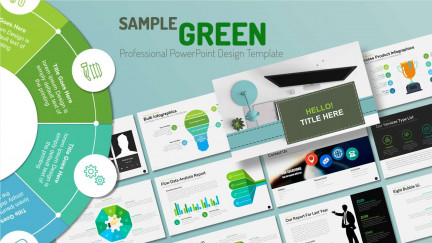 A collage of presentation slides from Sample Green PowerPoint Template