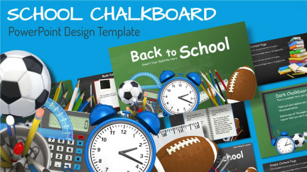 A collage of presentation slides from School Chalkboard PowerPoint Template