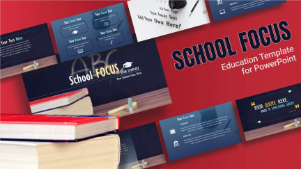A graphic preview layout of educational PowerPoint slides from PresenterMedia's school focus template.
