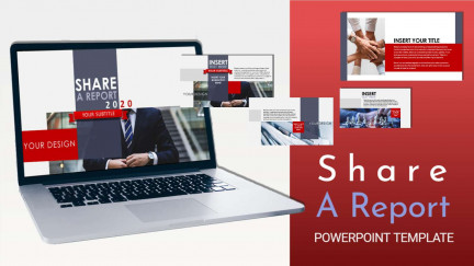 A collage of presentation slides from Share A Report PowerPoint Template