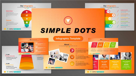 A collage of presentation slides from Simple Dots PowerPoint Template