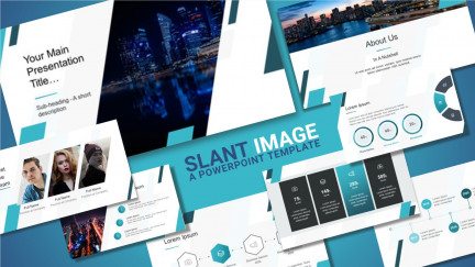 A collage of presentation slides from Slant Designs PowerPoint Template