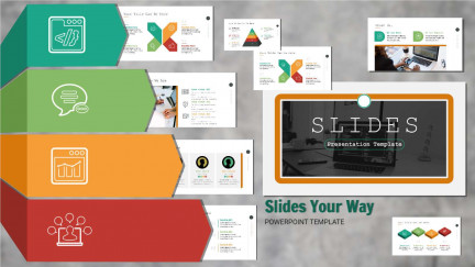 A collage of presentation slides from Slides Your Way PowerPoint Template