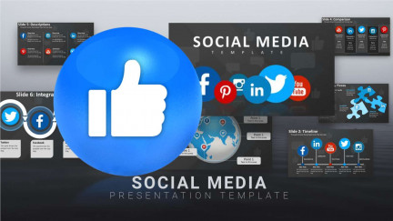A collage of presentation slides from Social Media PPT Template PowerPoint Template