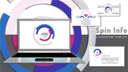 A collage of presentation slides from Spin Info PowerPoint Template