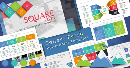 A collage of presentation slides from Square Fresh PowerPoint Template