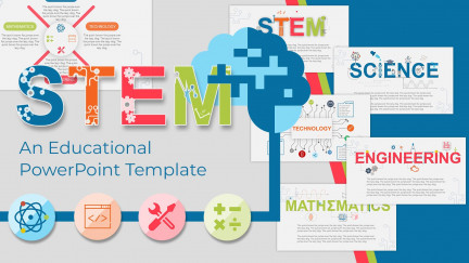 A collage of presentation slides from Stem Education PowerPoint Template