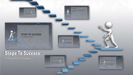 A collage of presentation slides from Steps To Success PowerPoint Template