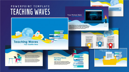 A collage of the slides that make up the teaching waves education ppt template.