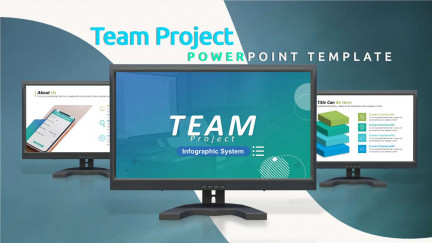 A collage of presentation slides from Team Project PowerPoint Template