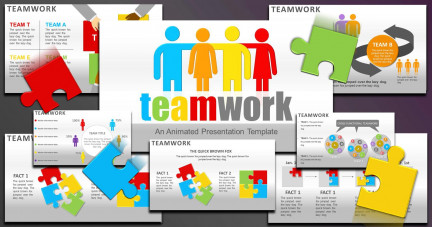 A collage of presentation slides from Teamwork Concept for PowerPoint PowerPoint Template