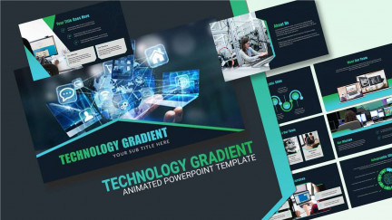 A collage of presentation slides from Technology Gradient PowerPoint Template