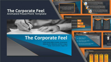 A collage of presentation slides from The Corporate Feel Ppt Template PowerPoint Template