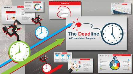 A collage of presentation slides from The Deadline PowerPoint Template
