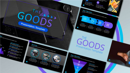 A collage of presentation slides from The Goods PowerPoint Template