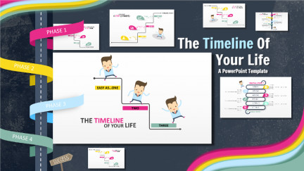 A collage of presentation slides from The Timeline Of Your Life PowerPoint Template