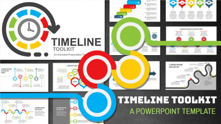 A collage of presentation slides from Timeline PowerPoint Template Toolkit