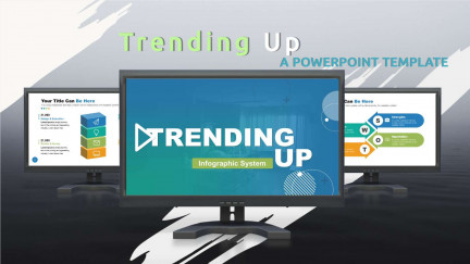 A collage of presentation slides from Trending Up PowerPoint Template