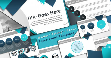 A collage of presentation slides from Triangle Peeks Modern Template PowerPoint Template