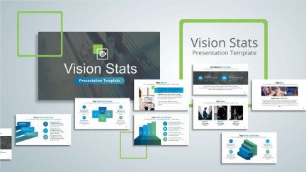 A collage of presentation slides from Vision Stats PowerPoint Template