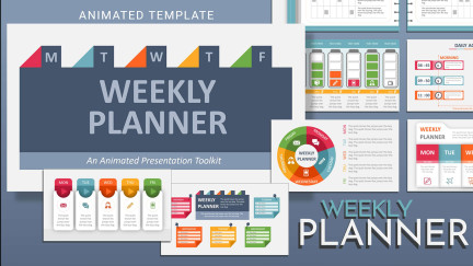 A collage of presentation slides from Weekly Planner toolkit Template PowerPoint Template