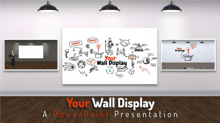 A collage of presentation slides from Your Wall Display PowerPoint Template